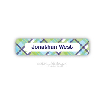 Madras Blue Waterproof Name Labels