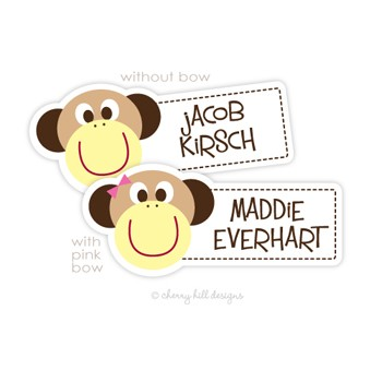 Monkey Boy Diecut Waterproof Name Labels