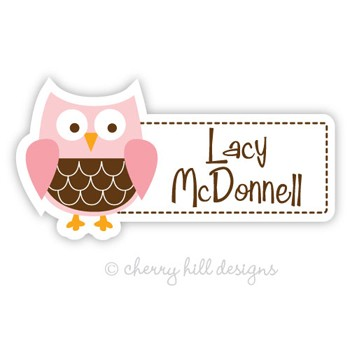 Pink Owl Diecut Waterproof Name Labels