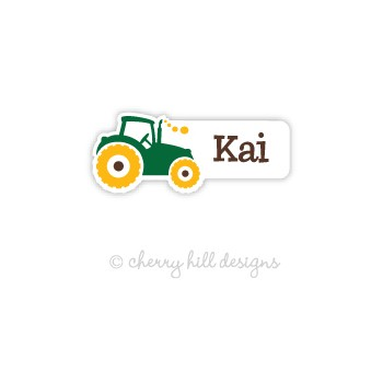 Tractor Mini Diecut Waterproof Name Labels