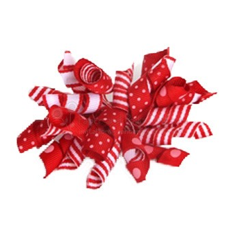 Korker Bow - Red and White Stripes and Polka Dots
