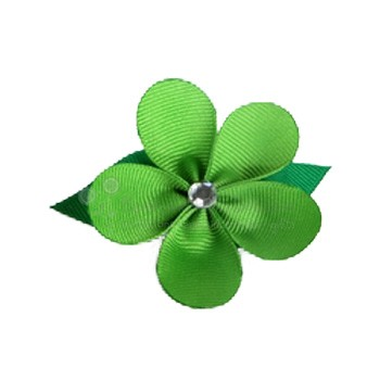Hair Flower - Apple Green Grosgrain Ribbon Flower with Crystal (Medium)