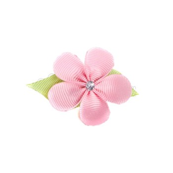 Hair Flower - Light Pink Grosgrain Ribbon Flower with Crystal (Small)