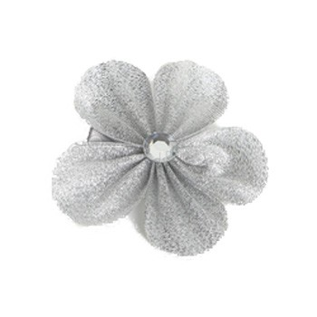 Hair Flower - Silver Grosgrain Ribbon Flower with Crystal (Large)