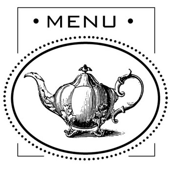Teapot Menu Mix and Match Stamp Design by Three Designing Women